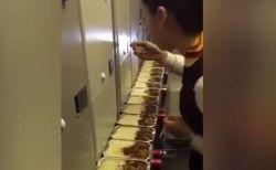 余った機内食をフライト後に食べるCA、動画を公開して業務停止に