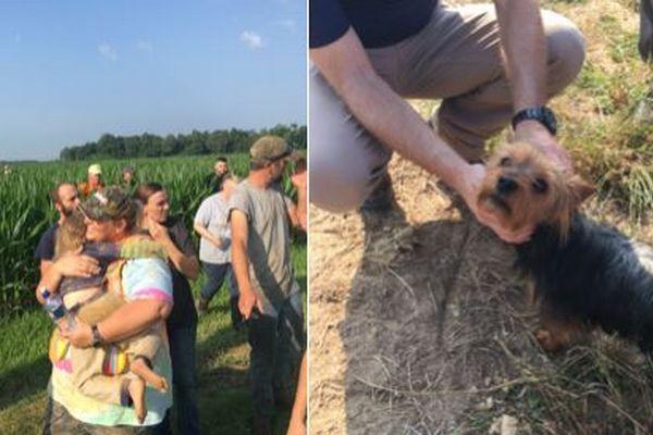 コーン畑で行方不明になった3歳の少女、離れずにいた愛犬により救助される