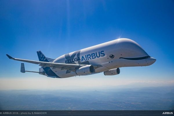 エアバス社の新しい大型輸送機が試験飛行、「ベルーガXL」が空を舞う