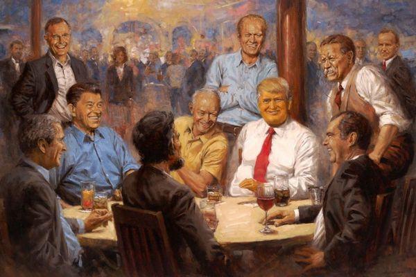 歴代大統領と談笑する絵画、トランプ大統領が飾っていることが明らかに
