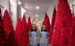 「血を彷彿…シャイニングの世界…」メラニア夫人によるクリスマスの装飾に賛否