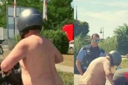 「だって暑いんだもん」裸でスクーターに乗っていたおじさん、警察に止められる