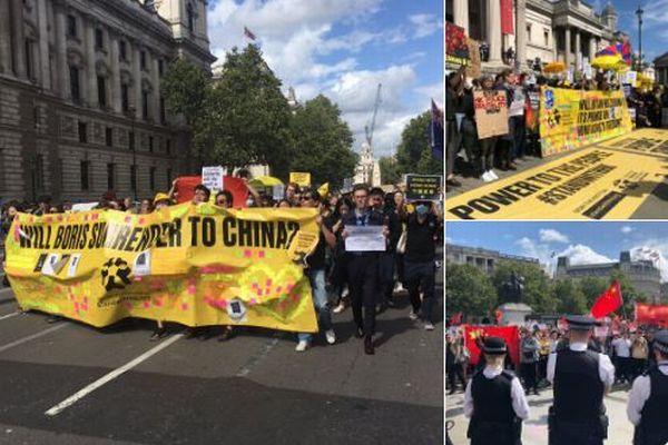 イギリスでも香港を巡りデモが発生、民主派と親中派とが対立【動画】