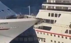 2隻の豪華客船が衝突、後部の窓が粉砕される様子を別の船から撮影