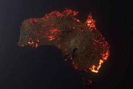 オーストラリアの山林火災を3次元で可視化、イメージ画像が話題に