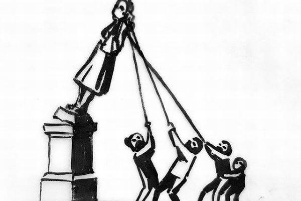 イギリスで賛否を呼ぶ銅像撤去問題、解決のためにバンクシーが提案