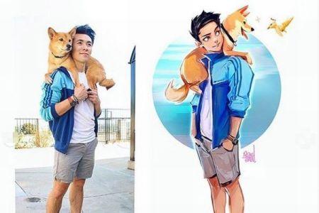 柴犬と自分の姿をキャラクターに変える、アーティストの作品が話題に