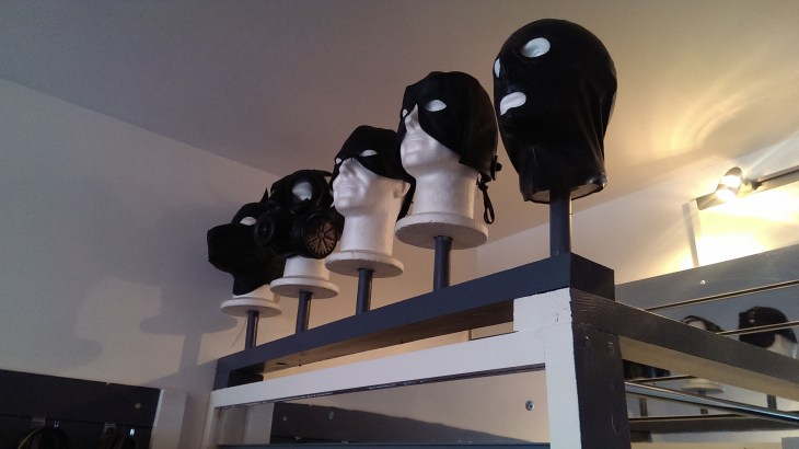 A few of the hoods and masks at Fetish Freak