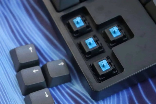 Blue clicky switches in a mechanical keyboard