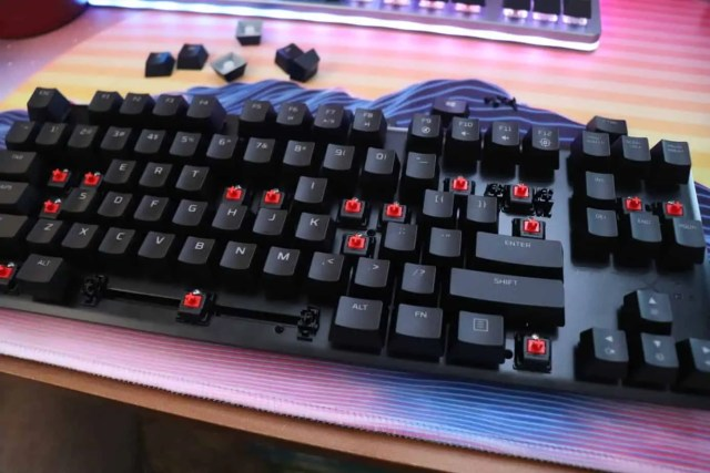 Some keycaps taken off a gaming mechanical keyboard.