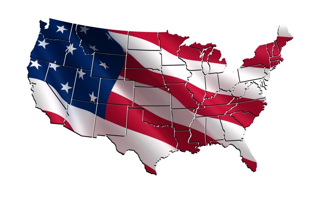 USA colorful map 3D