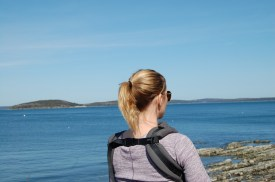 Walking with the baby in Bar Harbor, Maine coastline