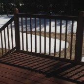 Snow has melted off the patio