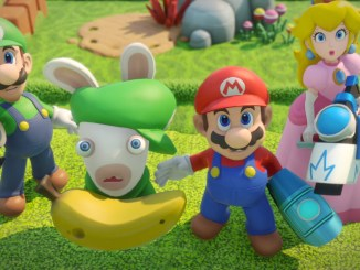 mario peach luigi and rabbid luigi all holding laser guns