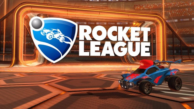 rocket league logo next to a car with a mario hat with a stadium goal in the background