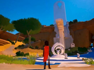protagonist from rime looking at a statue
