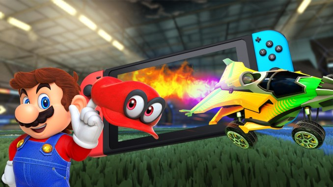 mario and rocket league car coming out of a nintendo switch screen on a rocket league field