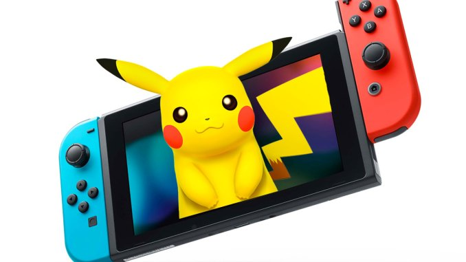 pikachu coming out of a nintendo switch