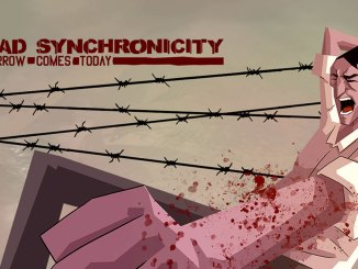 dead synchronicity character punching downward and covered in blood