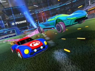 mario nsr and samus' gunship battle cars in rocket league