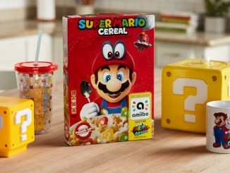 breakfast display featuring mario cereal and items