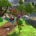yooka and laylee running from an enemy