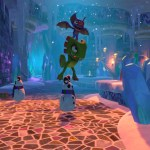 yooka and laylee jumping over an enemy