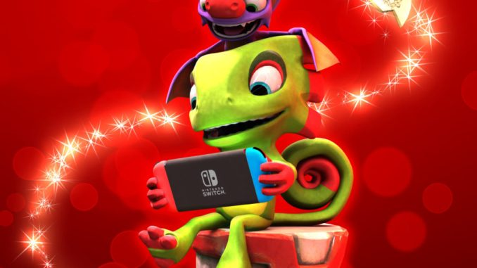 yooka and laylee playing with a neon nintendo switch