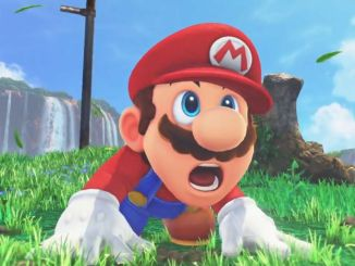 mario landing on a grassy field with his mouth agape