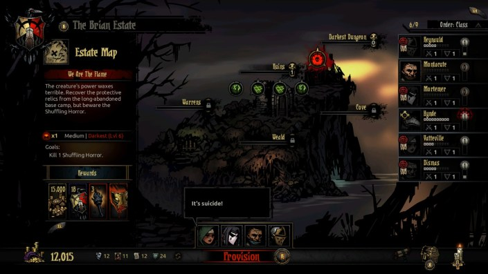 Stage select in Darkest Dungeon