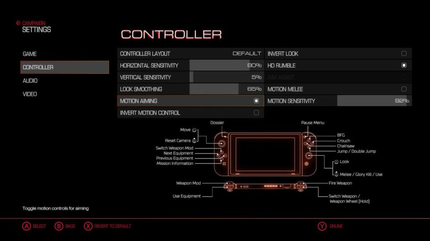 DOOM Splatoon 2 motion control settings