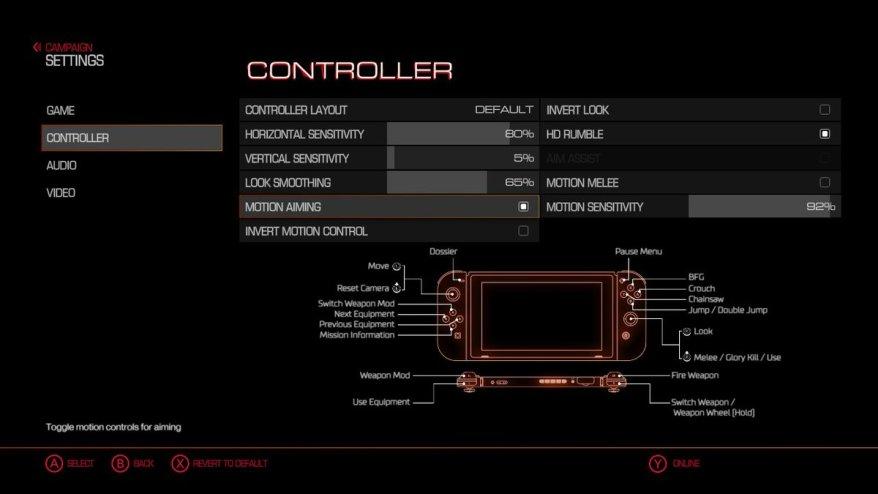 new doom update adds gyro aiming potential audio menu bug fixes