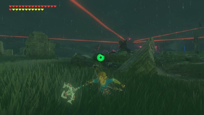 Link using a spear in BOTW