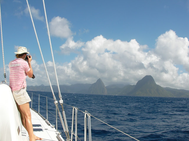St Lucia to starboard.