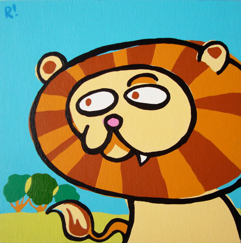 "Leo the Lion, 6""x6"", acrylic on panel"