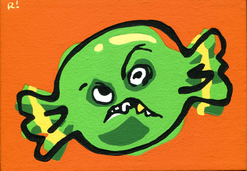"Sourball, 5""x7"", acrylic on canvas, Rob Elliott, 2014"