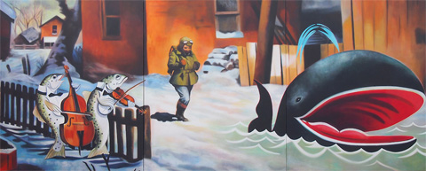 Freeze Frame, Melanie MacDonald, 2011. Acrylic on canvas, 60x36""