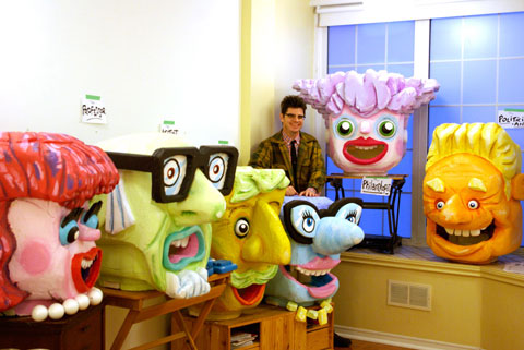 Rob with all six completed heads (l to r: The Socialite, The Professor, The Artist, The Columnist, The Philantropist, and The Politician