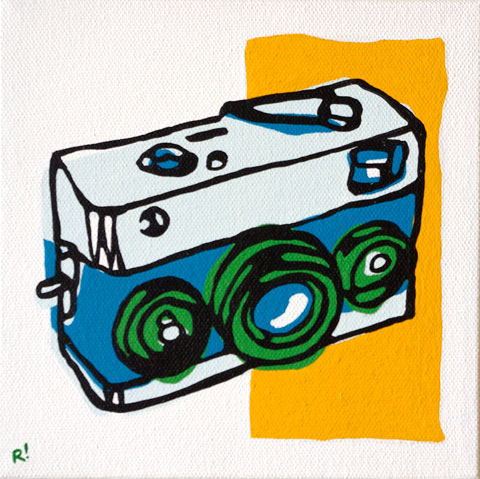"Rollei 35 6""x6"", acrylic on canvas"