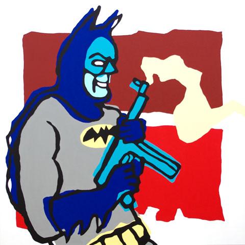 "Bang! Pow! by Rob Elliott. Acrylic on canvas, 36""x36""."