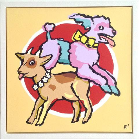 "Sideshow, 18""x18"", acrylic on canvas, custom painted wood frame, 2006. $400"