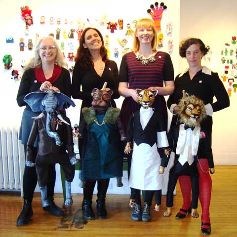 Puppet-A-Go-Go with marionettes by Clelia and Alexa. (Left to right) Christine Cosby, Clelia Scala, Alexa Fraser, Trisha Lavoie.