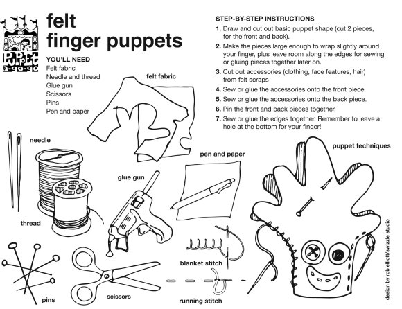 felt finger puppet how-to sheet by Rob Elliott/Swizzle Studio