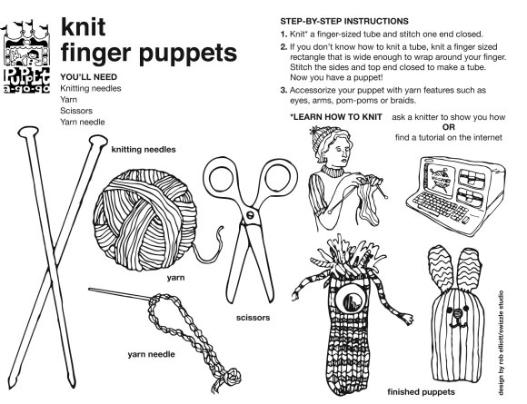 knit finger puppet how-to sheet by Rob Elliott/Swizzle Studio
