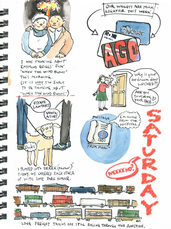 My Pandemic Diary page 13:when the wind blows,freight train,touching your face,membership cards
