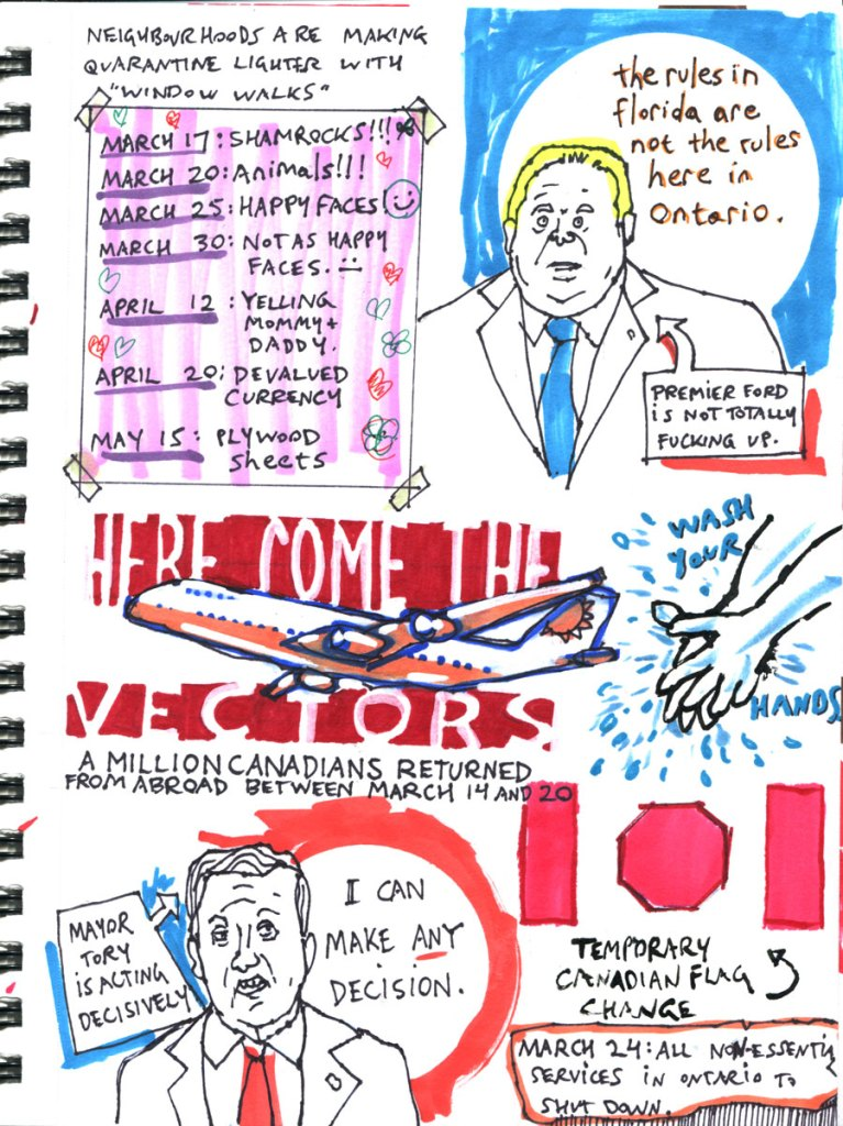 My Pandemic Diary page 15:Doug Ford,John Tory,returning Canadians,window walks