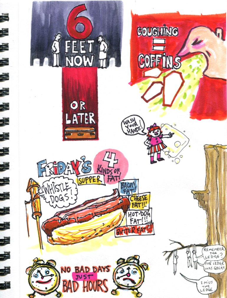 My Pandemic Diary page 35 public service announcements,whistle dogs,the ledge