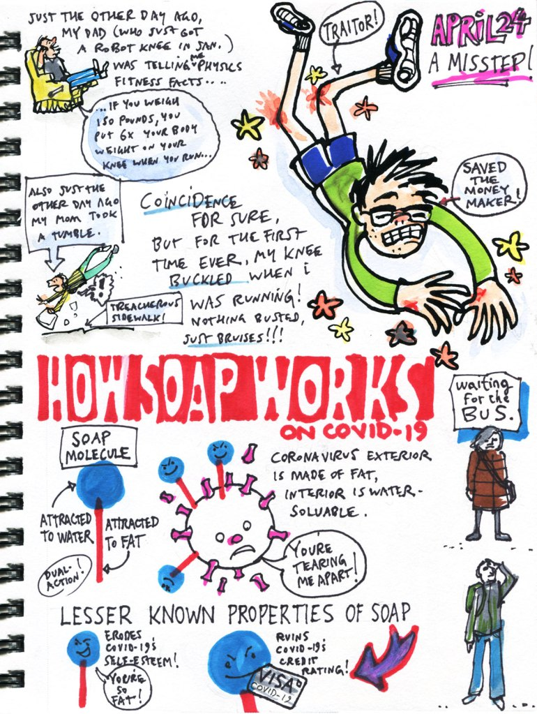 My Pandemic Library page 38 running fail, how soap works, bus stop sketches