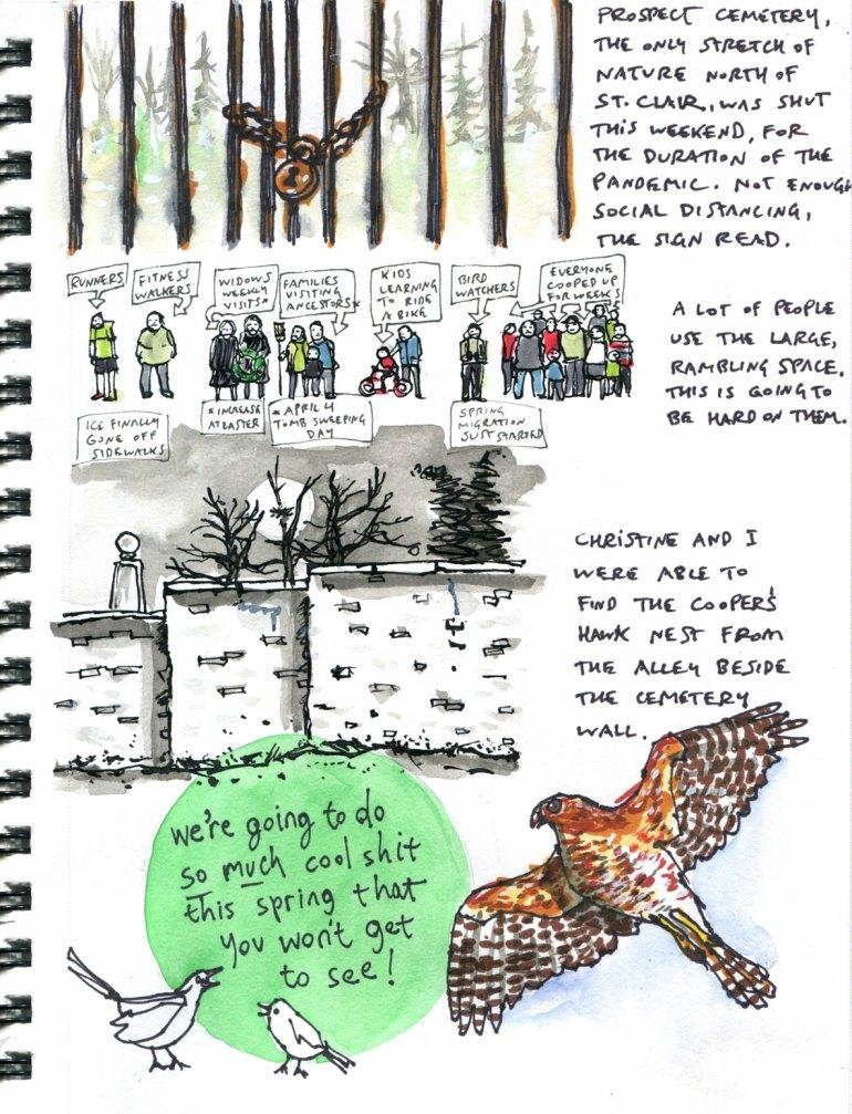 My pandemic diary page 24 prosepct cemetery closure