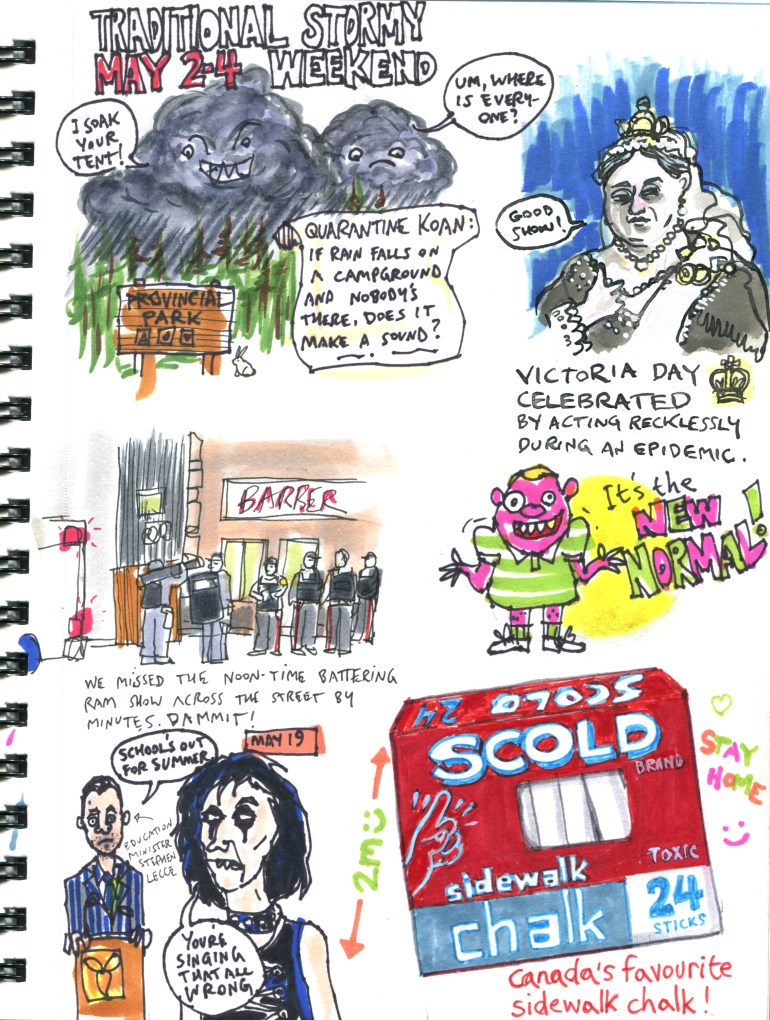 My Pandemic Diary page 46 Victoria Day, New Normal, Alice Cooper, sidewalk chalk